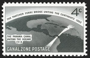 Sale Number 1224, Lot Number 307, Canal Zone, Cuba, Guam, PhilippinesCANAL ZONE, 1962, 4c Thatcher Ferry Bridge, Silver (Bridge) Omitted (157a), CANAL ZONE, 1962, 4c Thatcher Ferry Bridge, Silver (Bridge) Omitted (157a)