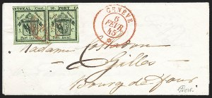 "Sale Number 1224, Lot Number 348, Worldwide: Switzerland including ""Inverted Double Geneva""SWITZERLAND, Geneva, 1843, 5c + 5c Black on Yellow Green, ""Inverted Double Geneva"" (2L1b; Zumstein 3.1.1), SWITZERLAND, Geneva, 1843, 5c + 5c Black on Yellow Green, ""Inverted Double Geneva"" (2L1b; Zumstein 3.1.1)"