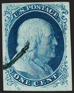 Sale Number 1224, Lot Number 35, 1851-56 Issue1c Blue, Ty. III (8), 1c Blue, Ty. III (8)