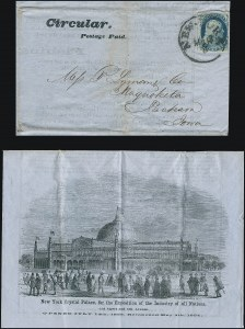 Sale Number 1224, Lot Number 47, 1853 Crystal Palace Exhibition from the Ken Lawrence Collection1c Blue, Ty. IV (9), 1c Blue, Ty. IV (9)