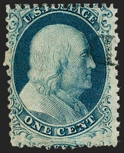 Sale Number 1224, Lot Number 54, 1c-3c 1851 Issue with Chicago Perforation1c Blue, Ty. II, Chicago Perf 12-1/2 (7 var), 1c Blue, Ty. II, Chicago Perf 12-1/2 (7 var)