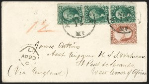 Sale Number 1224, Lot Number 64, 1857-60 Issue10c Green, Ty. V (35), 10c Green, Ty. V (35)