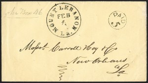 Sale Number 1225, Lot Number 111, Postmasters' Provisionals (Mt. Lebanon thru New Orleans)Mount Lebanon La. Feb. 4 (1862), Mount Lebanon La. Feb. 4 (1862)