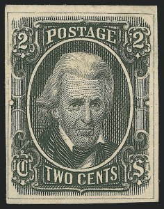 Sale Number 1225, Lot Number 249, Engraved Issues (Scott 8-10)2c Black, With Framelines, Archer & Daly, Trial Color Die Proof on Wove (8TC1), 2c Black, With Framelines, Archer & Daly, Trial Color Die Proof on Wove (8TC1)