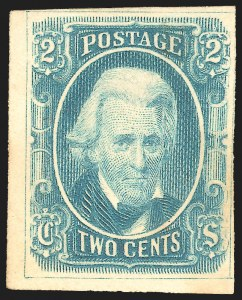 Sale Number 1225, Lot Number 250, Engraved Issues (Scott 8-10)2c Blue, With Framelines, Archer & Daly, Trial Color Die Proof on Wove (8TC1), 2c Blue, With Framelines, Archer & Daly, Trial Color Die Proof on Wove (8TC1)