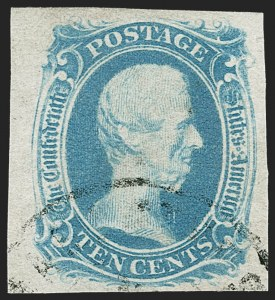 "Sale Number 1225, Lot Number 264, Engraved Issues (Scott 8-10)10c Milky Blue, ""TEN"" (9a), 10c Milky Blue, ""TEN"" (9a)"