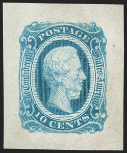 Sale Number 1225, Lot Number 287, Engraved Issues (Scott 11-13)10c Blue, Die B, Archer & Daly Die Essay on Wove (12E5), 10c Blue, Die B, Archer & Daly Die Essay on Wove (12E5)
