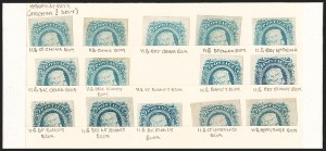 Sale Number 1225, Lot Number 288, Engraved Issues (Scott 11-13)10c Blue, Dies A, B, Shade Study (11-12), 10c Blue, Dies A, B, Shade Study (11-12)