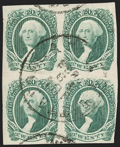 Sale Number 1225, Lot Number 300, Engraved Issues (Scott 11-13)20c Green (13), 20c Green (13)