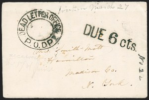 Sale Number 1225, Lot Number 320, Flag-of-Truce MailDead Letter Office P.O. Dept, Dead Letter Office P.O. Dept
