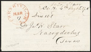 Sale Number 1225, Lot Number 46, Handstamped Paid and Due MarkingsCheneyville La., Mar. 17 (1863), Cheneyville La., Mar. 17 (1863)