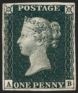 Sale Number 1226, Lot Number 1007, Great Britain - Prestamp thru 1840 Penny Black and 2p BlueGREAT BRITAIN, 1840, 1p Black (1; SG 2), GREAT BRITAIN, 1840, 1p Black (1; SG 2)