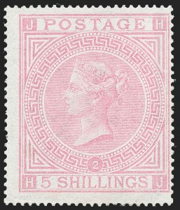 Sale Number 1226, Lot Number 1033, Great Britain - Queen VictoriaGREAT BRITAIN, 1867, 5sh Pale Rose (57a; SG 127), GREAT BRITAIN, 1867, 5sh Pale Rose (57a; SG 127)