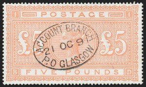 Sale Number 1226, Lot Number 1045, Great Britain - Queen VictoriaGREAT BRITAIN, 1882, £5 Orange (93; SG 137), GREAT BRITAIN, 1882, £5 Orange (93; SG 137)