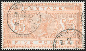 Sale Number 1226, Lot Number 1046, Great Britain - Queen VictoriaGREAT BRITAIN, 1882, £5 Orange (93; SG 137), GREAT BRITAIN, 1882, £5 Orange (93; SG 137)