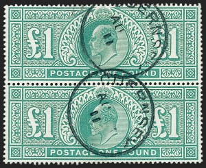 Sale Number 1226, Lot Number 1059, Great Britain - King Edward VII thru QEIIGREAT BRITAIN, 1902, £1 Blue Green (142; SG 266), GREAT BRITAIN, 1902, £1 Blue Green (142; SG 266)