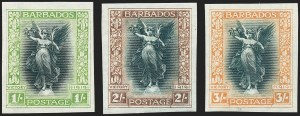 Sale Number 1226, Lot Number 1083, Australia thru BechuanalandBARBADOS, 1920, -1/4p-3sh Victory Issue, Imperforate Plate Proofs (140P-150P; SG 201P-211P), BARBADOS, 1920, -1/4p-3sh Victory Issue, Imperforate Plate Proofs (140P-150P; SG 201P-211P)