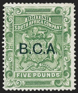 Sale Number 1226, Lot Number 1094, Bermuda thru British GuianaBRITISH CENTRAL AFRICA, 1891, £5 Yellow Green, Comma for Stop Variety (16 var; SG 16 var), BRITISH CENTRAL AFRICA, 1891, £5 Yellow Green, Comma for Stop Variety (16 var; SG 16 var)