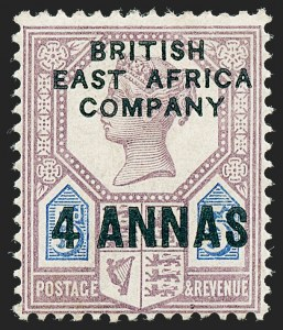 "Sale Number 1226, Lot Number 1097, Bermuda thru British GuianaBRITISH EAST AFRICA, 1890, 4a on 5p Lilac & Blue, ""B"" over ""S"" of ""East"" (3 var; SG 3 Footnote), BRITISH EAST AFRICA, 1890, 4a on 5p Lilac & Blue, ""B"" over ""S"" of ""East"" (3 var; SG 3 Footnote)"