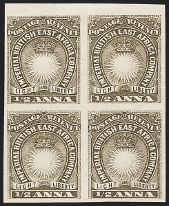 Sale Number 1226, Lot Number 1098, Bermuda thru British GuianaBRITISH EAST AFRICA, 1890, -1/2a Bister Brown, Imperforate (14a; SG 4a), BRITISH EAST AFRICA, 1890, -1/2a Bister Brown, Imperforate (14a; SG 4a)