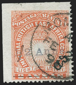 "Sale Number 1226, Lot Number 1100, Bermuda thru British GuianaBRITISH EAST AFRICA, 1891, -1/2a on 2a Vermilion, Manuscript ""A.D."" (31; SG 20), BRITISH EAST AFRICA, 1891, -1/2a on 2a Vermilion, Manuscript ""A.D."" (31; SG 20)"