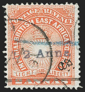"Sale Number 1226, Lot Number 1101, Bermuda thru British GuianaBRITISH EAST AFRICA, 1891, -1/2a on 2a Vermilion, Manuscript ""A.D."" (31; SG 20), BRITISH EAST AFRICA, 1891, -1/2a on 2a Vermilion, Manuscript ""A.D."" (31; SG 20)"