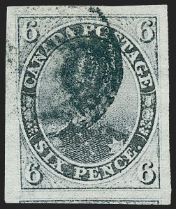 Sale Number 1226, Lot Number 1124, Canada - 1851 Pence thru 1859 Cents IssueCANADA, 1851, 6p Slate Violet, Laid Paper (2; SG 2), CANADA, 1851, 6p Slate Violet, Laid Paper (2; SG 2)