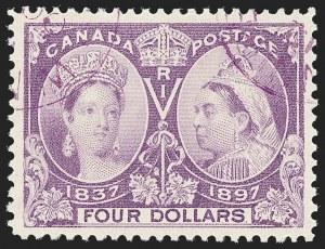 Sale Number 1226, Lot Number 1155, Canada - 1868 Large Queens thru 1898 Map IssueCANADA, 1897, $4.00 Jubilee (64), CANADA, 1897, $4.00 Jubilee (64)