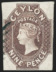 Sale Number 1226, Lot Number 1177, Cape of Good Hope thru CyprusCEYLON, 1859, 9p Lilac Brown (9; SG 8), CEYLON, 1859, 9p Lilac Brown (9; SG 8)