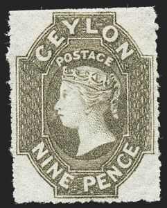 Sale Number 1226, Lot Number 1178, Cape of Good Hope thru CyprusCEYLON, 1861, 9p Olive Brown, Rough Perf 14 to 15-1/2 (31; SG 33b), CEYLON, 1861, 9p Olive Brown, Rough Perf 14 to 15-1/2 (31; SG 33b)