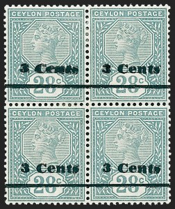 Sale Number 1226, Lot Number 1179, Cape of Good Hope thru CyprusCEYLON, 1892, 3c on 28c Slate, Double Surcharge (157a; SG 243a), CEYLON, 1892, 3c on 28c Slate, Double Surcharge (157a; SG 243a)