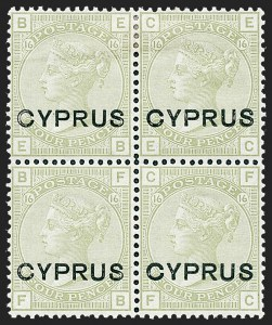 Sale Number 1226, Lot Number 1181, Cape of Good Hope thru CyprusCYPRUS, 1880, 4p Light Olive Green (4; SG 4), CYPRUS, 1880, 4p Light Olive Green (4; SG 4)