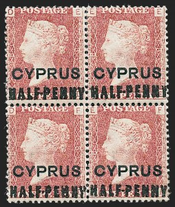 Sale Number 1226, Lot Number 1183, Cape of Good Hope thru CyprusCYPRUS, 1881, -1/2 on 1p Red, 18mm Long Surcharge (8; SG 7), CYPRUS, 1881, -1/2 on 1p Red, 18mm Long Surcharge (8; SG 7)