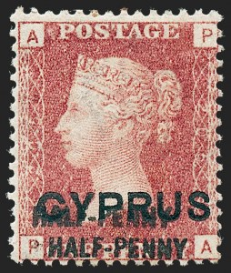 Sale Number 1226, Lot Number 1184, Cape of Good Hope thru CyprusCYPRUS, 1881, -1/2p on 1p Red, 13mm Long Surcharge, Double Surcharge (10c; SG 9aa), CYPRUS, 1881, -1/2p on 1p Red, 13mm Long Surcharge, Double Surcharge (10c; SG 9aa)