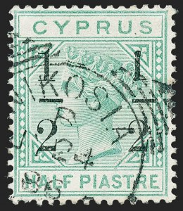"Sale Number 1226, Lot Number 1185, Cape of Good Hope thru CyprusCYPRUS, 1886, -1/2pi on -1/2pi Emerald Green, 8mm Spacing, Small ""1"" at Right (SG 28b), CYPRUS, 1886, -1/2pi on -1/2pi Emerald Green, 8mm Spacing, Small ""1"" at Right (SG 28b)"