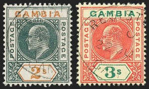 Sale Number 1226, Lot Number 1198, East Africa & Uganda thru German East AfricaGAMBIA, 1902-05, -1/2p-3sh and 1904-06, -1/2p-2sh King Edward VII (28-39, 41/64; SG 45-68), GAMBIA, 1902-05, -1/2p-3sh and 1904-06, -1/2p-2sh King Edward VII (28-39, 41/64; SG 45-68)
