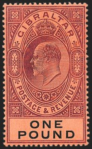 Sale Number 1226, Lot Number 1201, Gibraltar thru Hong KongGIBRALTAR, 1908, £1 Violet & Black on Red (64; SG 64), GIBRALTAR, 1908, £1 Violet & Black on Red (64; SG 64)
