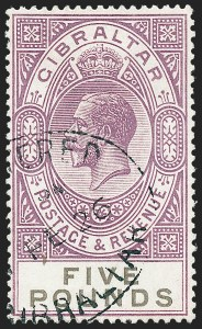 Sale Number 1226, Lot Number 1204, Gibraltar thru Hong KongGIBRALTAR, 1921-32, £5 Dull Violet and Black (93; SG 108), GIBRALTAR, 1921-32, £5 Dull Violet and Black (93; SG 108)