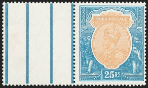 Sale Number 1226, Lot Number 1228, IndiaINDIA, 1928, 25r Blue & Ocher (125; SG 219), INDIA, 1928, 25r Blue & Ocher (125; SG 219)