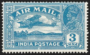 "Sale Number 1226, Lot Number 1230, IndiaINDIA, 1929, 3a Blue, Air Post, ""Q"" for ""O"" in ""Postage"" (SG 221a), INDIA, 1929, 3a Blue, Air Post, ""Q"" for ""O"" in ""Postage"" (SG 221a)"