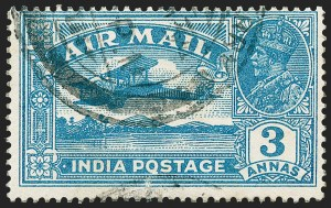 "Sale Number 1226, Lot Number 1231, IndiaINDIA, 1929, 3a Blue, Air Post, ""Q"" for ""O"" in ""Postage"" (SG 221a), INDIA, 1929, 3a Blue, Air Post, ""Q"" for ""O"" in ""Postage"" (SG 221a)"