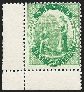 Sale Number 1226, Lot Number 1266, Nevis thru North BorneoNEVIS, 1867, 1sh Yellow Green, Perf 15 (11; SG 14), NEVIS, 1867, 1sh Yellow Green, Perf 15 (11; SG 14)