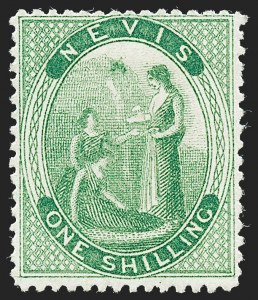 Sale Number 1226, Lot Number 1267, Nevis thru North BorneoNEVIS, 1876, 1sh Yellow Green, Crossed Lines on Hill (SG 14b), NEVIS, 1876, 1sh Yellow Green, Crossed Lines on Hill (SG 14b)