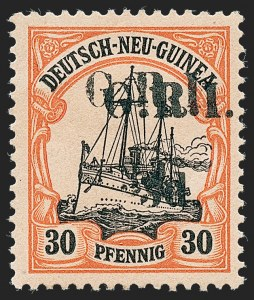 Sale Number 1226, Lot Number 1268, Nevis thru North BorneoNEW BRITAIN, 1914, 3p on 30pf Orange & Black on Salmon, Double Surcharge (23a; SG 23g), NEW BRITAIN, 1914, 3p on 30pf Orange & Black on Salmon, Double Surcharge (23a; SG 23g)