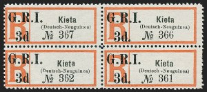 "Sale Number 1226, Lot Number 1269, Nevis thru North BorneoNEW BRITAIN, 1914, 3p Black & Red, ""Kieta"" Registry Label, Without Period After ""3d"" (47, 47c; SG 38, 38b), NEW BRITAIN, 1914, 3p Black & Red, ""Kieta"" Registry Label, Without Period After ""3d"" (47, 47c; SG 38, 38b)"