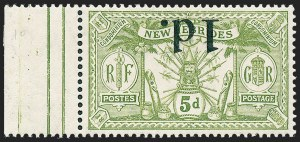 Sale Number 1226, Lot Number 1270, Nevis thru North BorneoNEW HEBRIDES, 1921, 1p on 5p Olive Green, Inverted Surcharge (26a; SG 30a), NEW HEBRIDES, 1921, 1p on 5p Olive Green, Inverted Surcharge (26a; SG 30a)