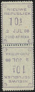 Sale Number 1226, Lot Number 1274, Nevis thru North BorneoNEW REPUBLIC, 1886, 10sh Violet on Gray, Tete-Beche Pair (32a; SG 42a), NEW REPUBLIC, 1886, 10sh Violet on Gray, Tete-Beche Pair (32a; SG 42a)