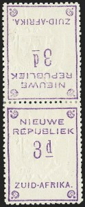 Sale Number 1226, Lot Number 1275, Nevis thru North BorneoNEW REPUBLIC, 1887, 3p Violet on Yellow, Tete-Beche Pair (43b; SG 79b), NEW REPUBLIC, 1887, 3p Violet on Yellow, Tete-Beche Pair (43b; SG 79b)