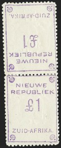 Sale Number 1226, Lot Number 1276, Nevis thru North BorneoNEW REPUBLIC, 1887, £1 Violet on Yellow, Tete-Beche Pair (57b; SG 94a), NEW REPUBLIC, 1887, £1 Violet on Yellow, Tete-Beche Pair (57b; SG 94a)