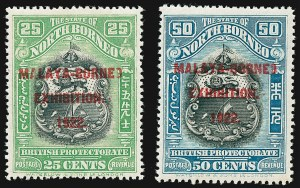 "Sale Number 1226, Lot Number 1280, Nevis thru North BorneoNORTH BORNEO, 1922, 1c-50c Malaya-Borneo Exhibition Overprints, Stop After ""Exhibition"" (SG 253c-275a), NORTH BORNEO, 1922, 1c-50c Malaya-Borneo Exhibition Overprints, Stop After ""Exhibition"" (SG 253c-275a)"